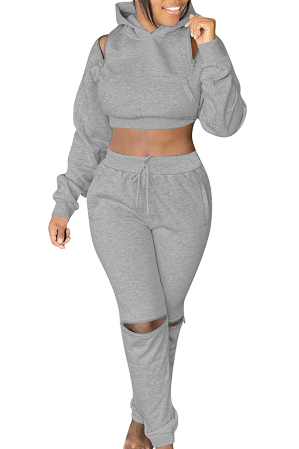 Solid Crop Top High Waisted Pants Women's Sport Tracksuits