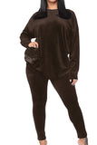Solid Casual Suits Outfits Womens Velvet Tracksuit