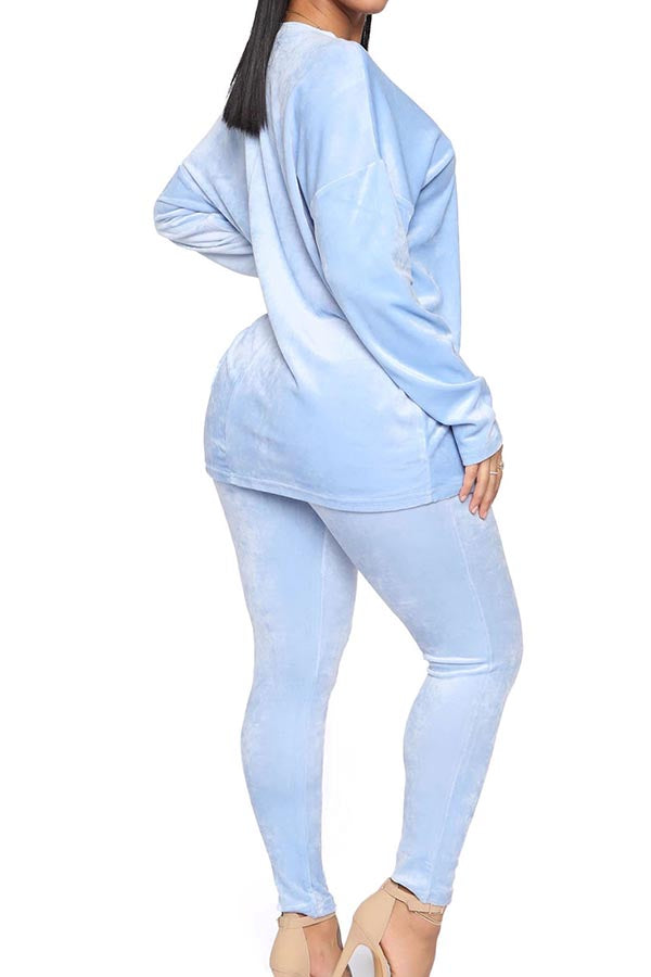 Solid Pullover Top Bodycon Pants Velour Sweatsuit