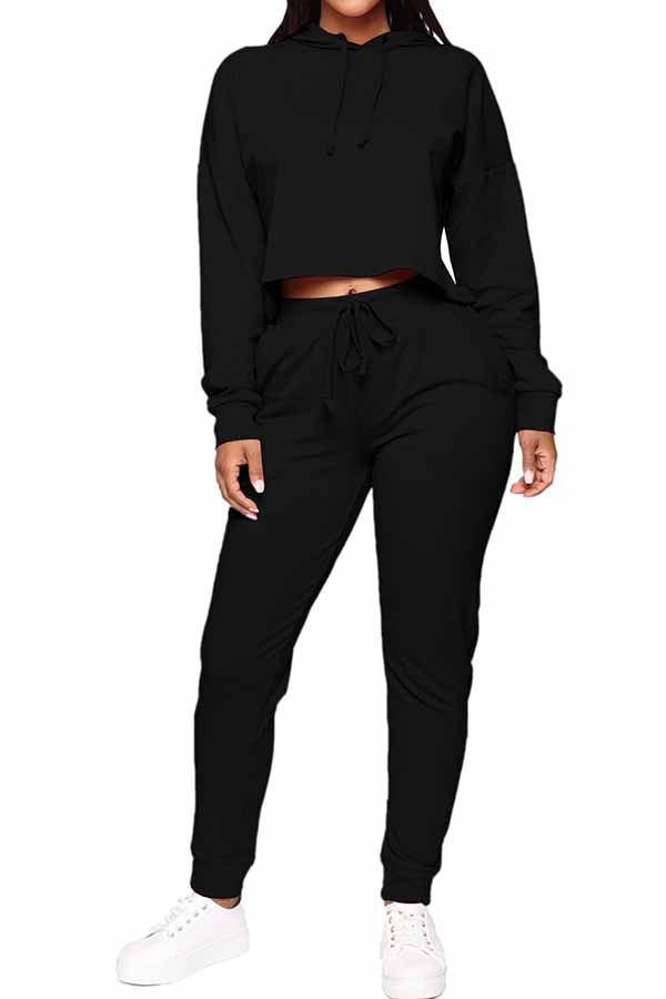 Solid Hooded Crop Top High Waisted Pants Tracksuit Set For Women