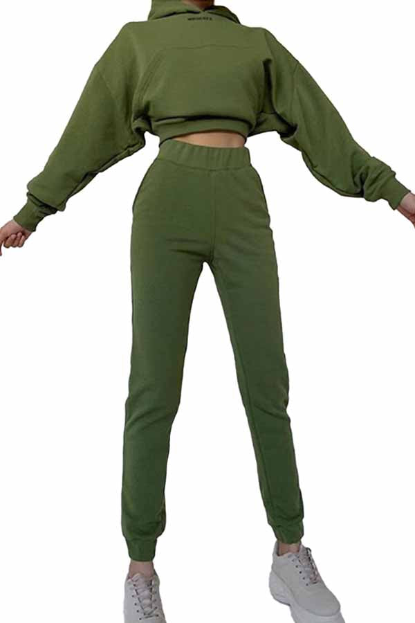 Womens Cropped Hoodie Jogger Pants Set Tracksuit Sets