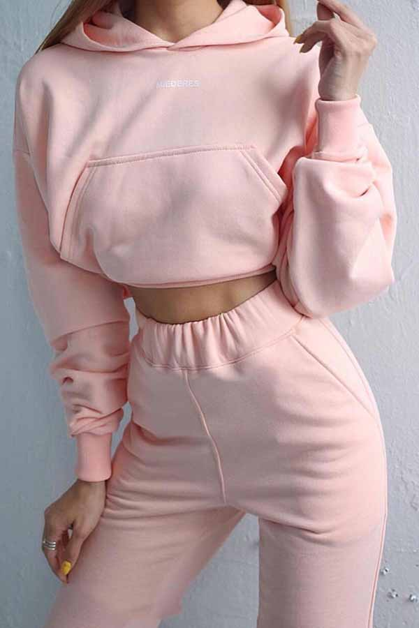 Crop Hoodie High Waisted Pants Two Piece Outfit For Women