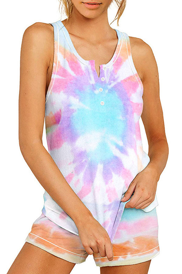 Women's Tie Dye Print Pajama Set Sleeveless Tank Top With Shorts