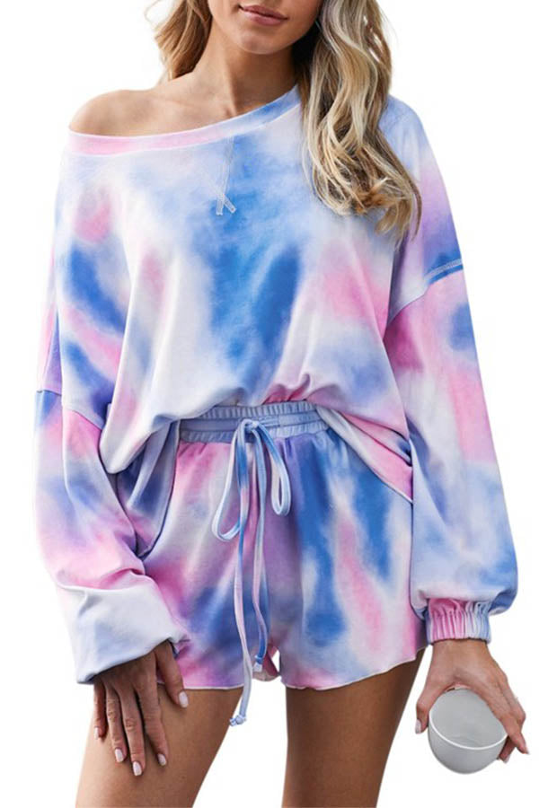 Long Sleeve Tie Dye Tee And Shorts Pajamas Loungewear Set