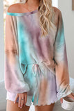 Long Sleeve Tie Dye Frilled Short Pajamas Set Loungwear