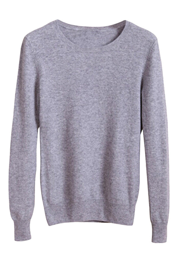 Womens Crewneck Long Sleeve Pullover Sweater Light Gray