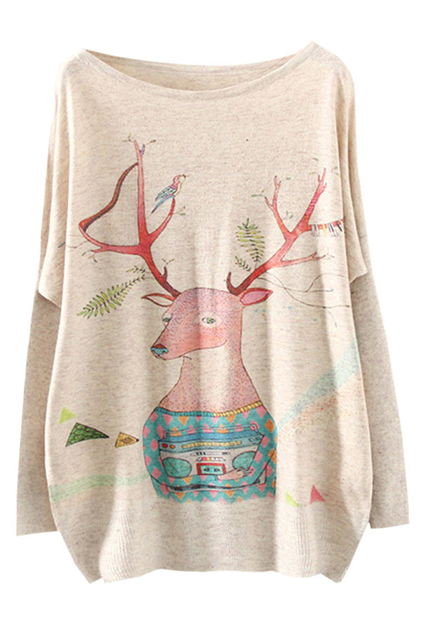 Womens Crewneck Batwing Sleeve Deer Printed Christmas T Shirt Beige