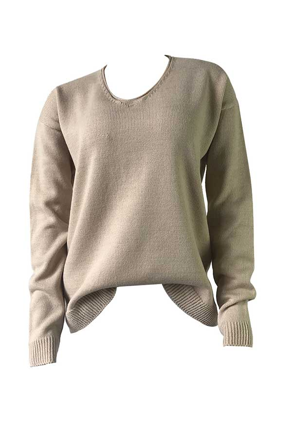 Solid V Neck Loose Knit Sweater Apricot