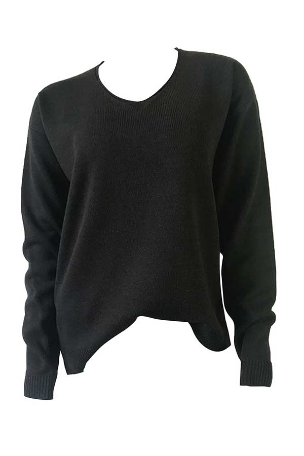 Solid Drop Shoulder Pullover Sweater Black