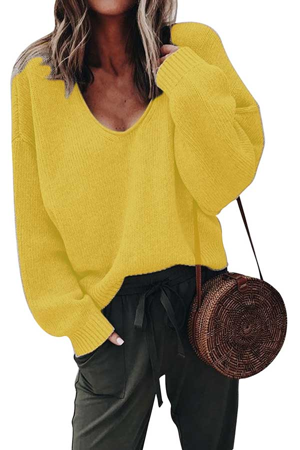 Casual V Neck Solid Pullover Sweater Yellow