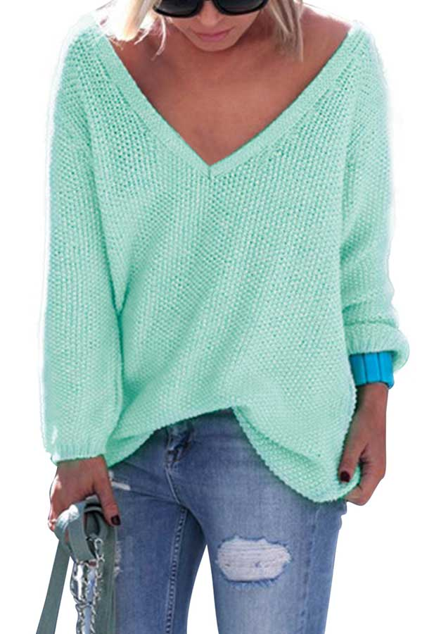 Plus Size V Neck Oversized Pullover Sweater Turquoise