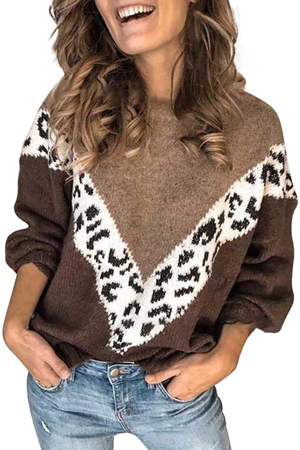 Drop Shoulder Leopard Print Oversized Pullover Sweater Brown