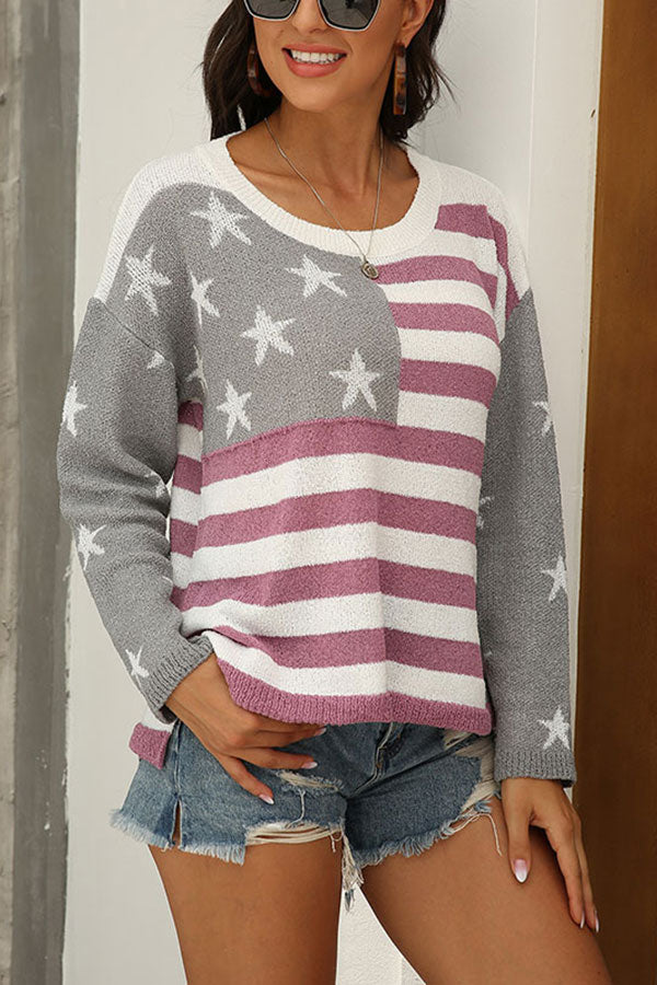 American Flag Print Slit Knit Pullover Sweater Gray