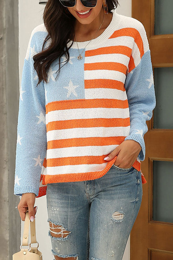 Casual American Flag Print Oversized Sweater Light Blue