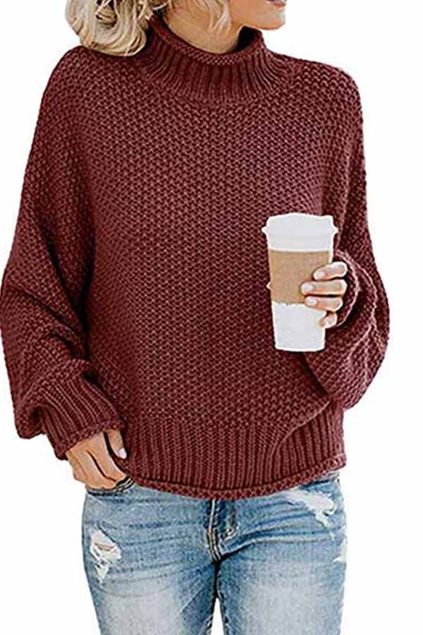 Dolman Sleeve High Neck Cable Knit Sweater Ruby