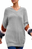 Cable Knit Puff Sleeve V Neck Pullover Sweater Grey