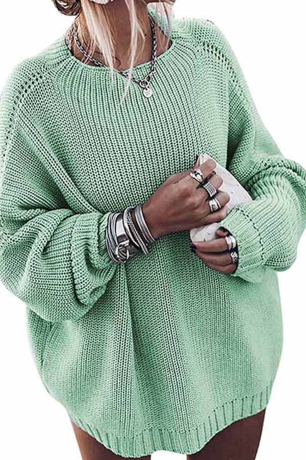 Loose Casual Puff Sleeve Knit Sweater Emerald Green