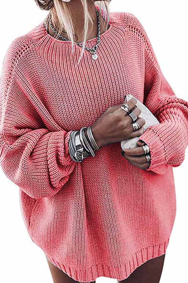 Lantern Sleeve Crew Neck Casual Sweater Pink