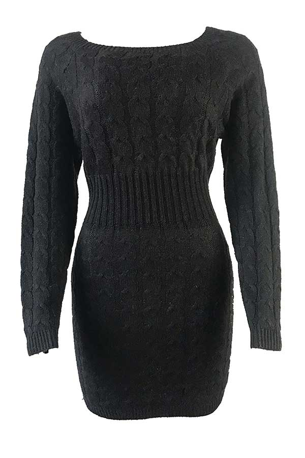 Cable Knit Long Sleeve Midi Sweater Dress Black