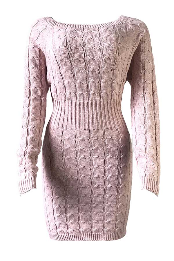 Boat Neck Cable Knit Midi Sweater Dress Pink