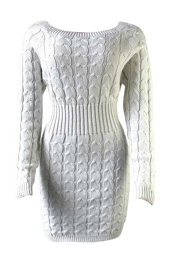 Solid Boat Neck Long Sleeve Midi Knit Dress White