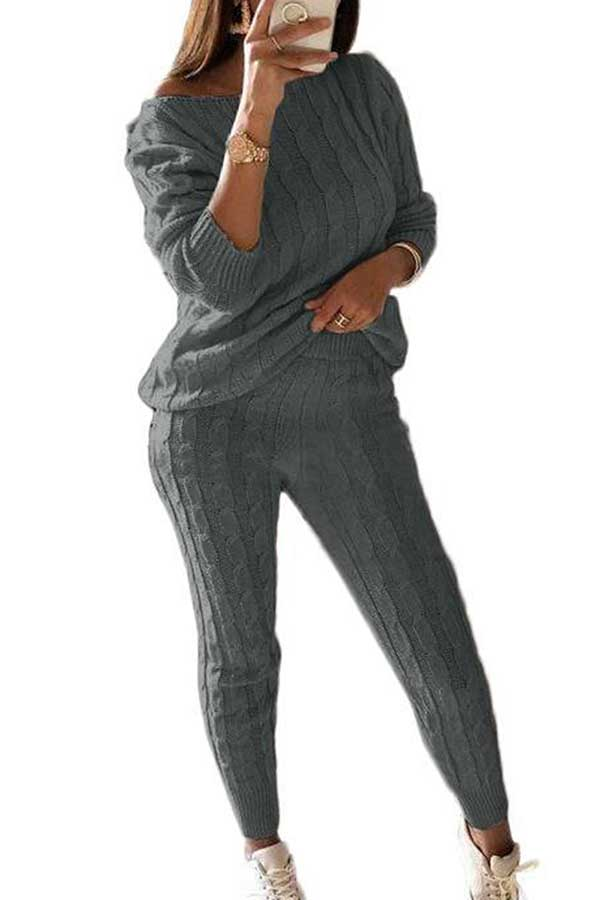 Casual Solid Long Sleeve Pants Plus Size Sweater Suit Dark Grey