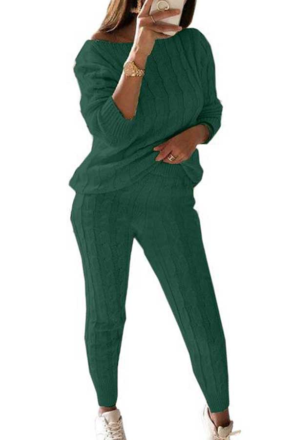 Plus Size Long Sleeve Boat Neck Pants Sweater Suit Dark Green