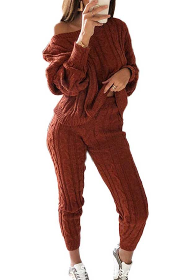 Casual Solid Long Sleeve Pants Plus Size Sweater Suit Ruby