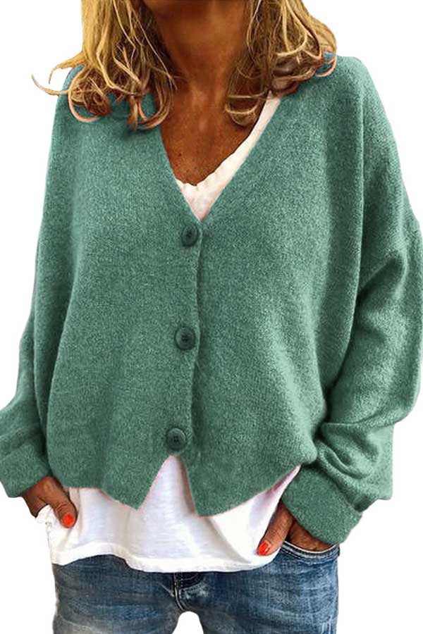 Solid Button Down Oversized Cardigan Sweater Turquoise