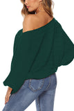 Loose Off Shoulder Batwing Sleeve Solid Sweater Dark Green