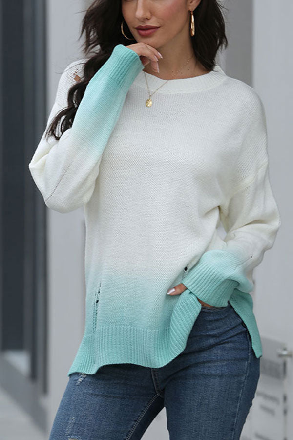 Ripped Ombre Print Pullover Sweater For Women Sapphire Blue