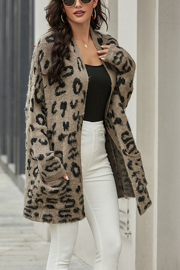 Open Front Leopard Print Cardigan Sweater With Pocket Dark Grey