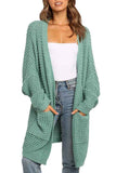 Open Front Cable Knit Oversized Cardigan Green