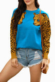 Drop Shoulder Leopard Print Sleeve Sweater Blue