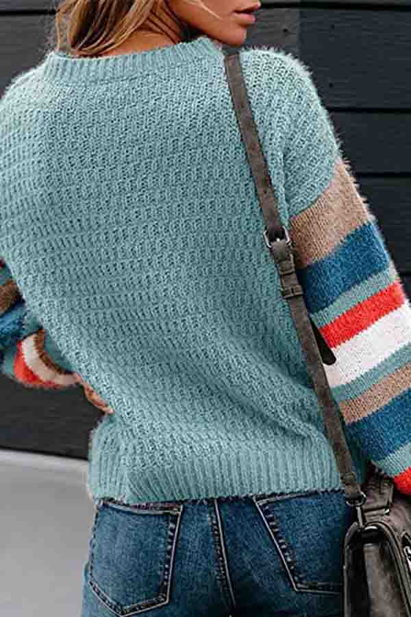 Casual Striped Block Pullover Sweater Blue