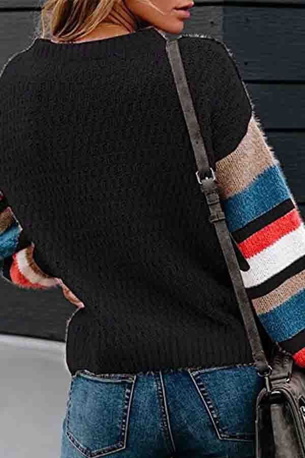 Loose Long Sleeve Color Block Pullover Sweater Black