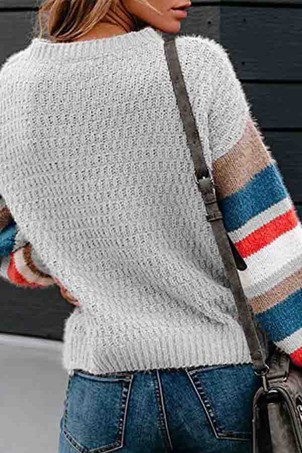 Drop Shoulder Striped Block Oversized Sweater Gray