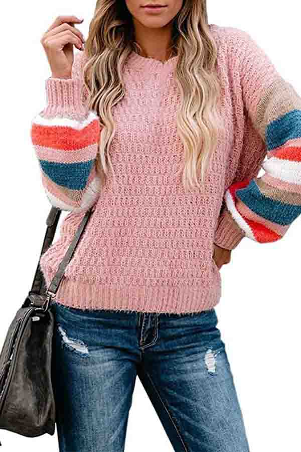 Drop Shoulder Striped Block Oversized Sweater Pink