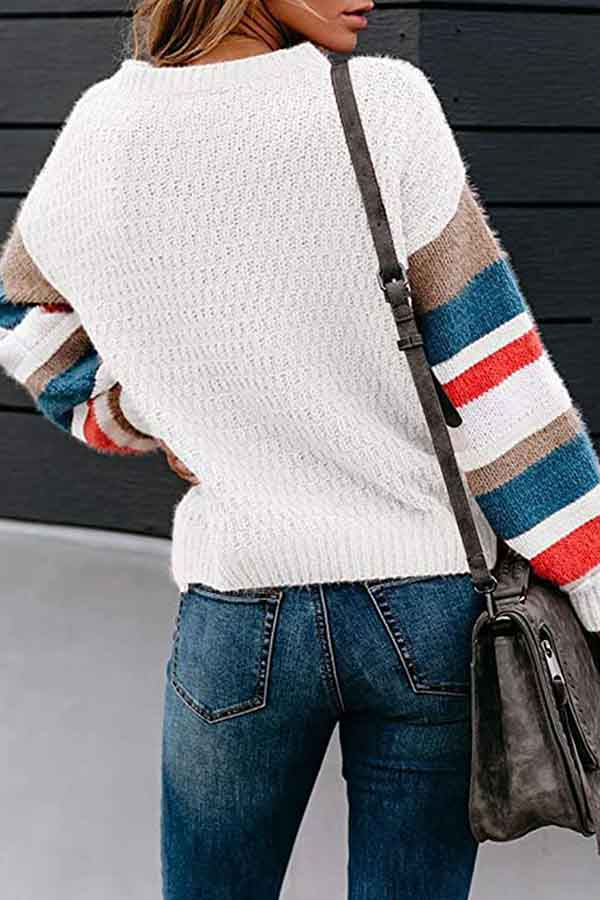 Color Block Striped Block Loose Sweater White