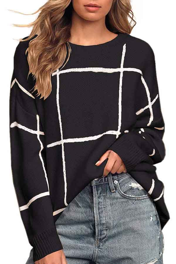 Crew Neck Long Sleeve Checkered Sweater Black