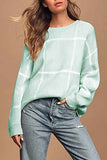 Casual Long Sleeve Plaid Pullover Sweater Light Gray