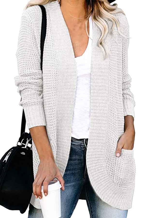 Open Front Solid Pocket Midi Cardigan White
