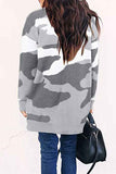Open Front Loose Camo Midi Cardigan Gray