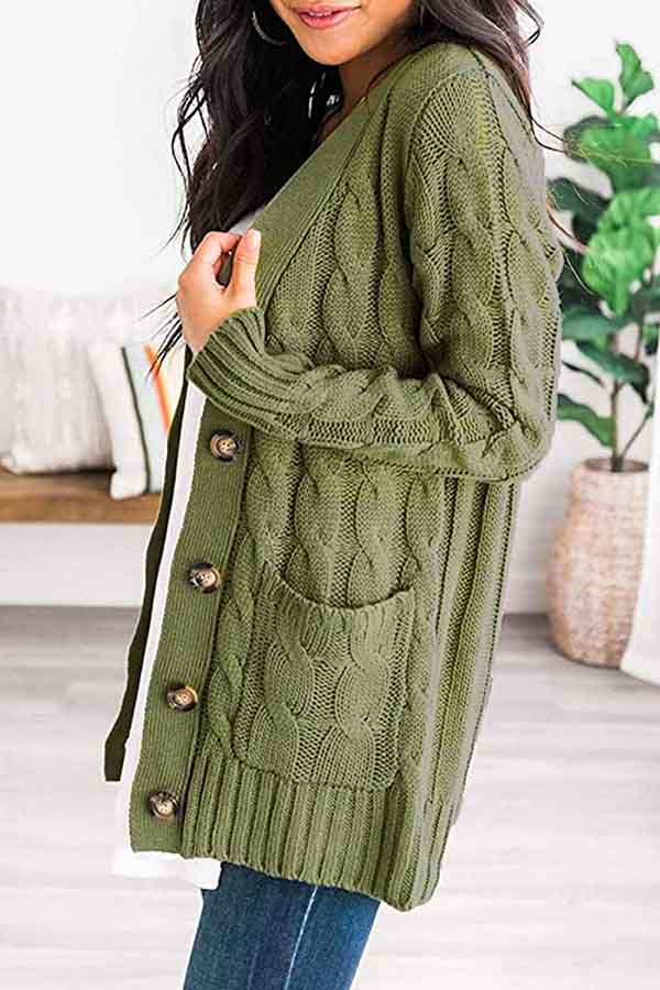 Long Sleeve Open Front Solid Cable Knit Pocket Cardigan Olive