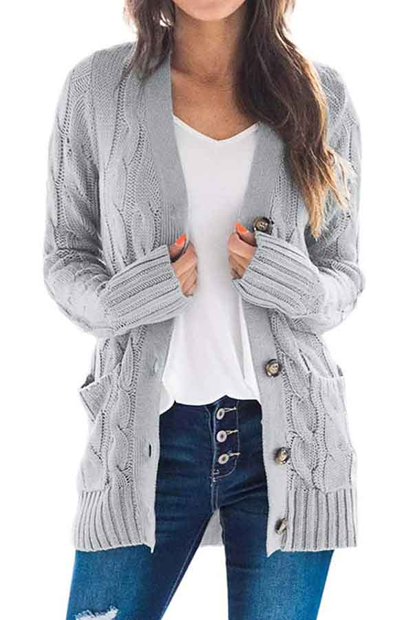 Solid Open Front Long Sleeve Button Down Casual Cardigan Light Grey