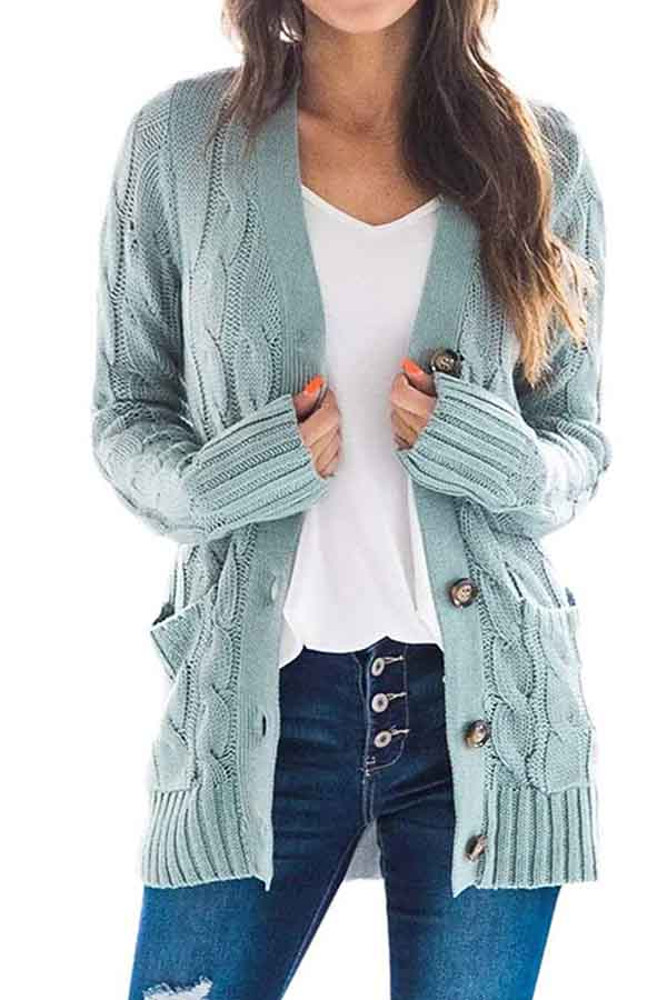 Long Sleeve Plain Button Pocket Casual Cardigan Turquoise