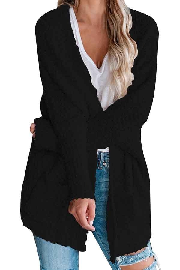 Furry Open Front Solid Pocket Kimono Cardigan Black