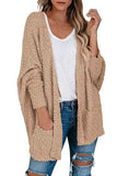 Dolman Long Sleeve Pocket Furry Cardigan Khaki