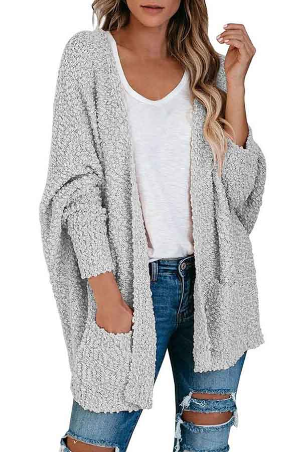 Batwing Sleeve Open Front Furry Plain Kimono Cardigan Light Grey
