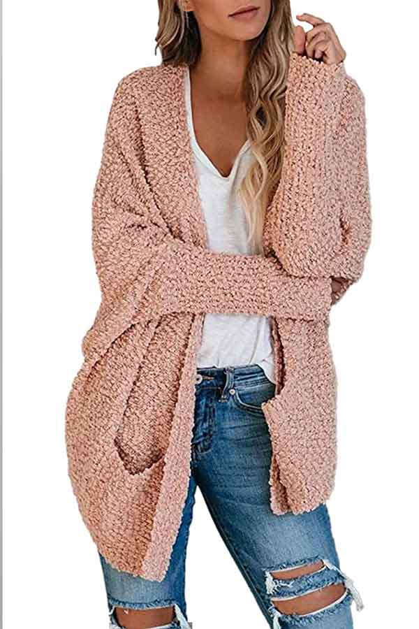 Casual Long Sleeve Pocket Front Furry Cardigan Pink